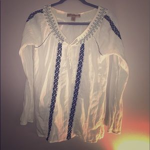 Boho shirt cream color with embroidered detail